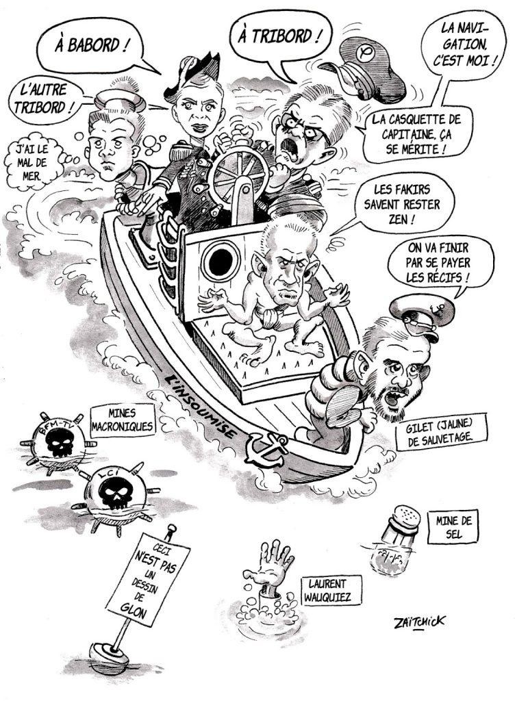 dessin d'actualité humoristique sur La France Insoumise