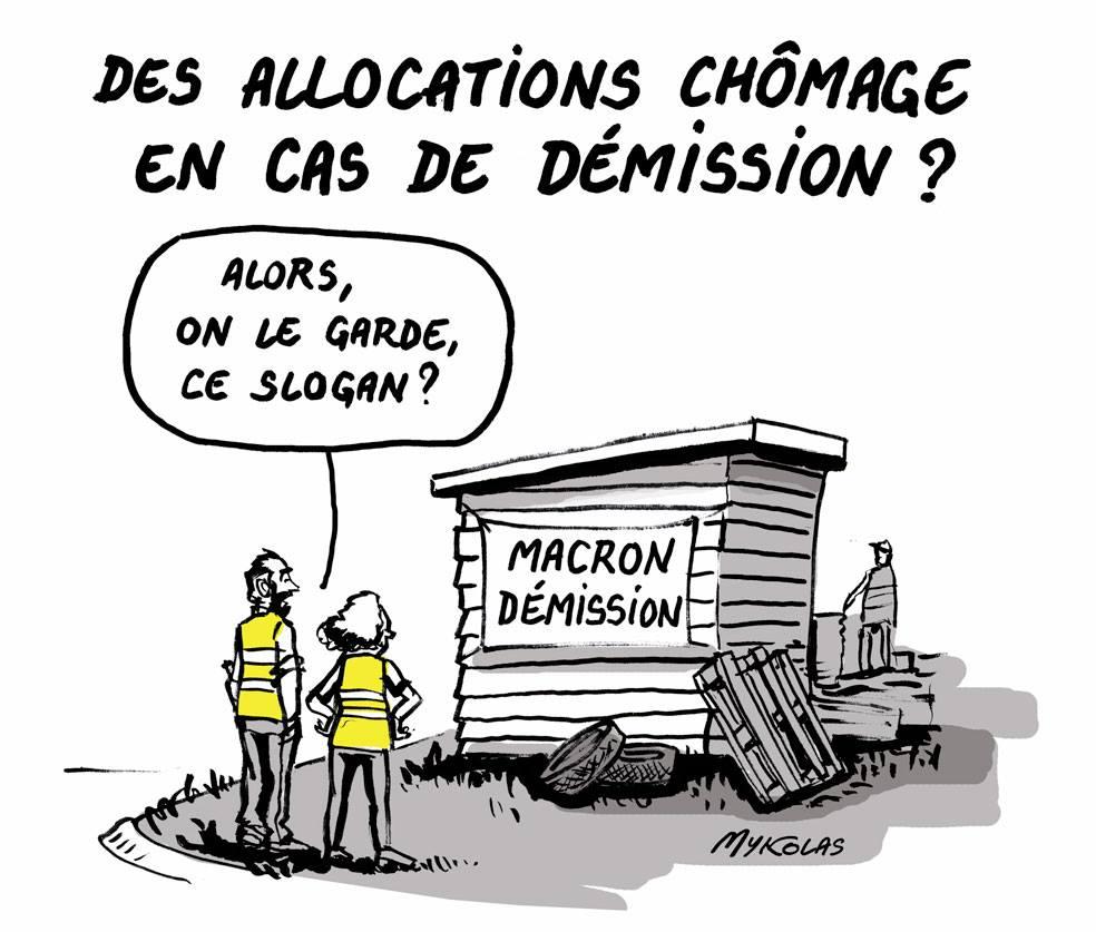 dessin d'actualité humoristique sur les allocations chômages versées en cas de démission