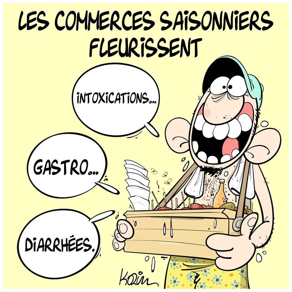 dessin d'actualité humoristique sur les commerces saisonniers qui fleurissent avec les beaux jours