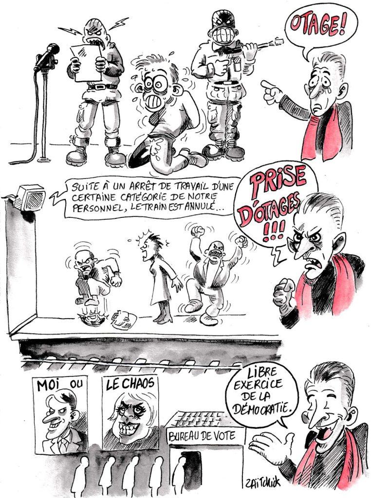dessin d'actualité humoristique sur les journalistes politique comme Christophe Barbier et leur interprétation très particulière de certains évènements
