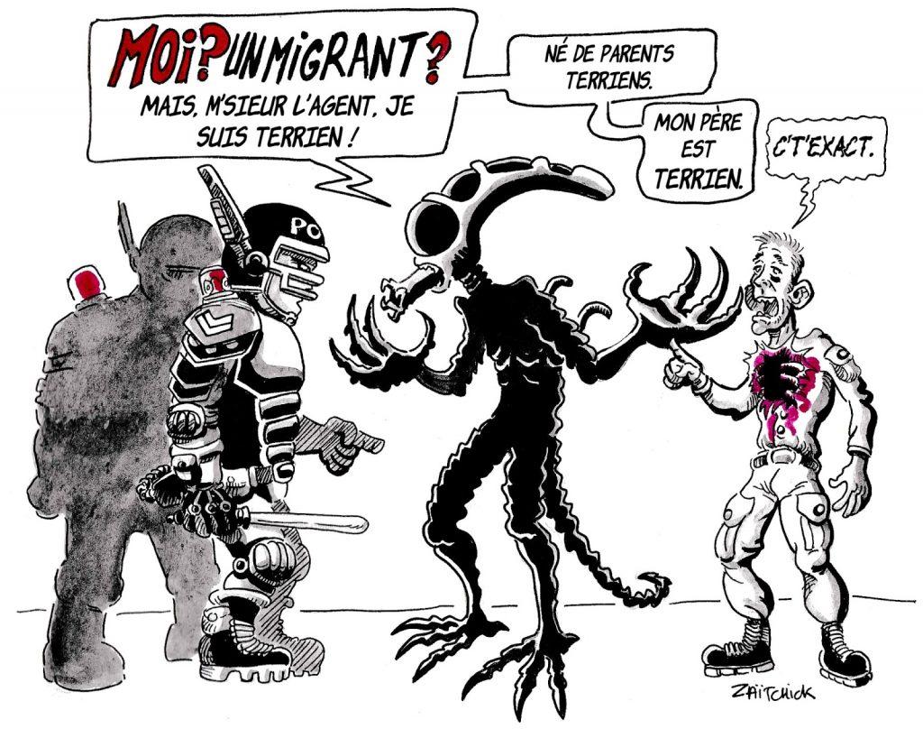 dessin d'actualité humoristique sur les migrants, les passagers clandestins et Alien le 8ème passager