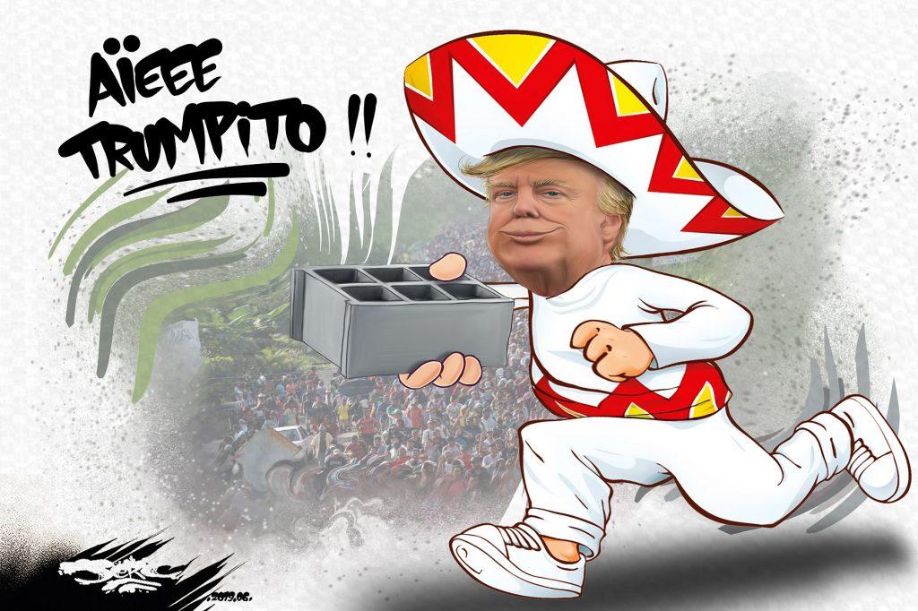 dessin d'actualité humoristique sur Donald Trump et le mur entre les États-Unis et le Mexique