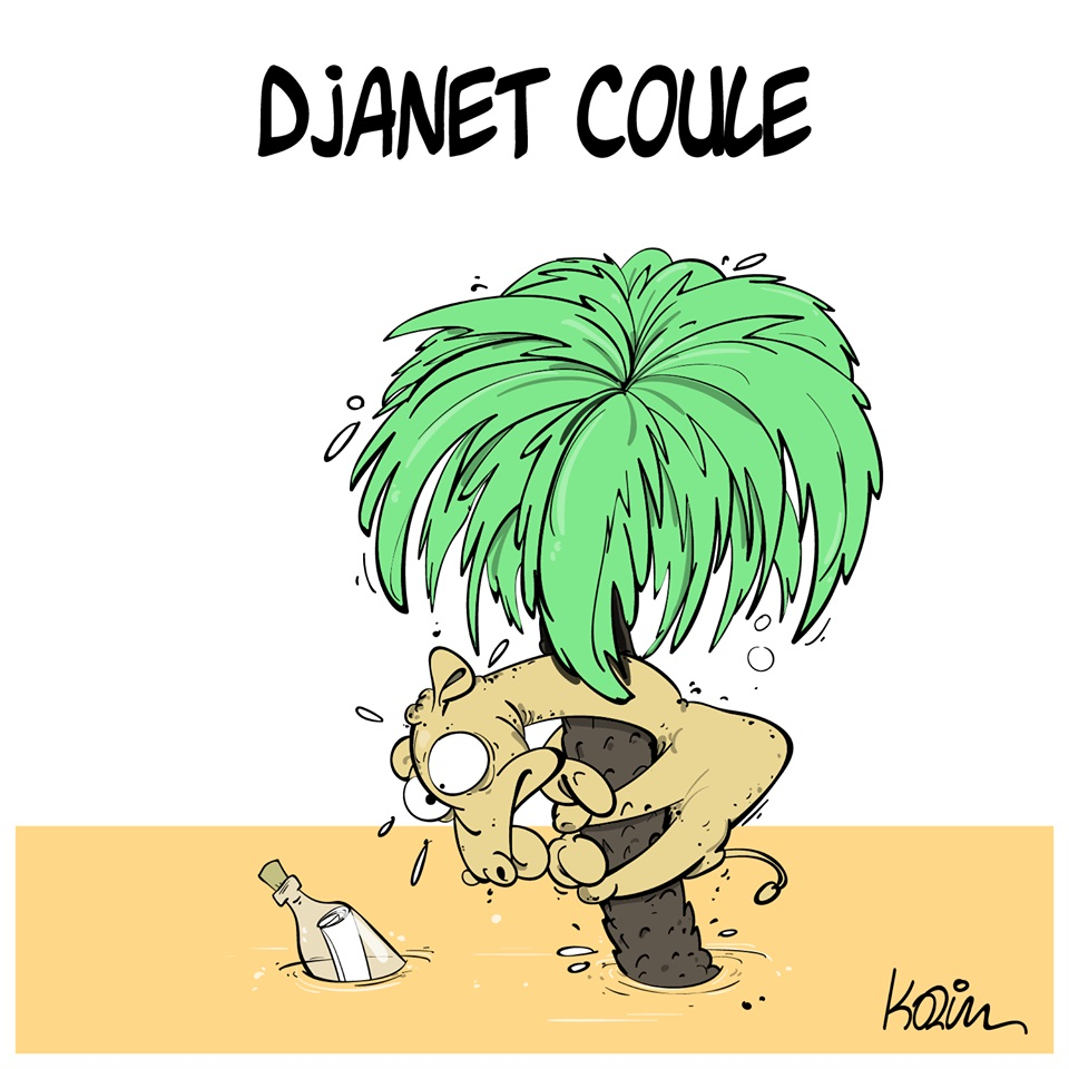 dessin d'actualité humoristique sur les inondations à Djanet