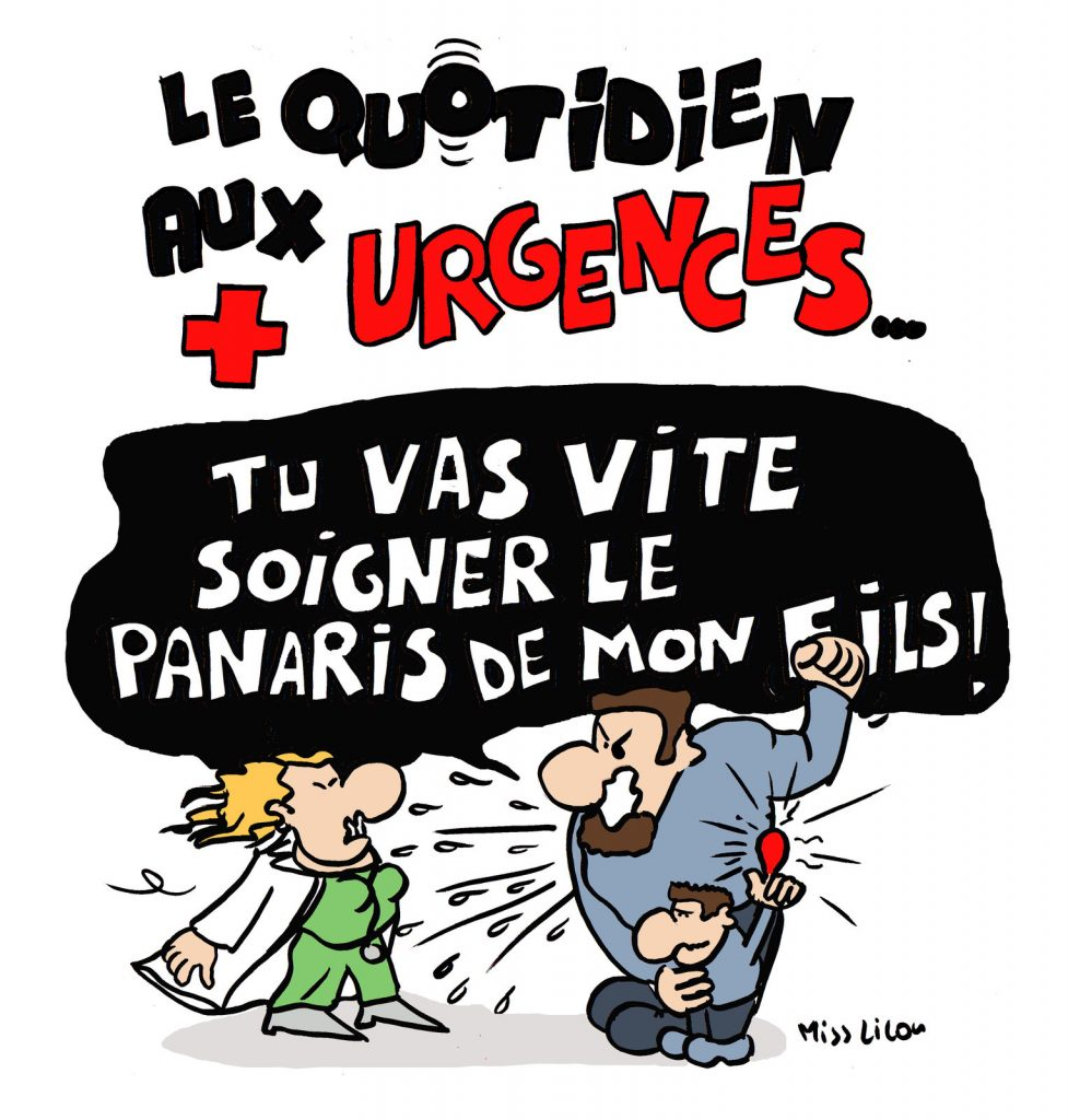 dessin de Miss Lilou sur le quotidien dans les services d'urgences