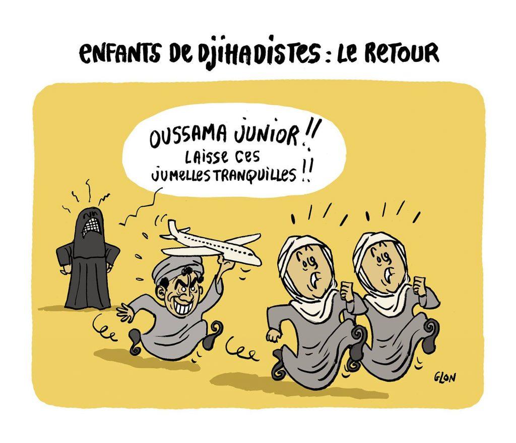 dessin d'actualité humoristique sur le retour des enfants de djihadistes