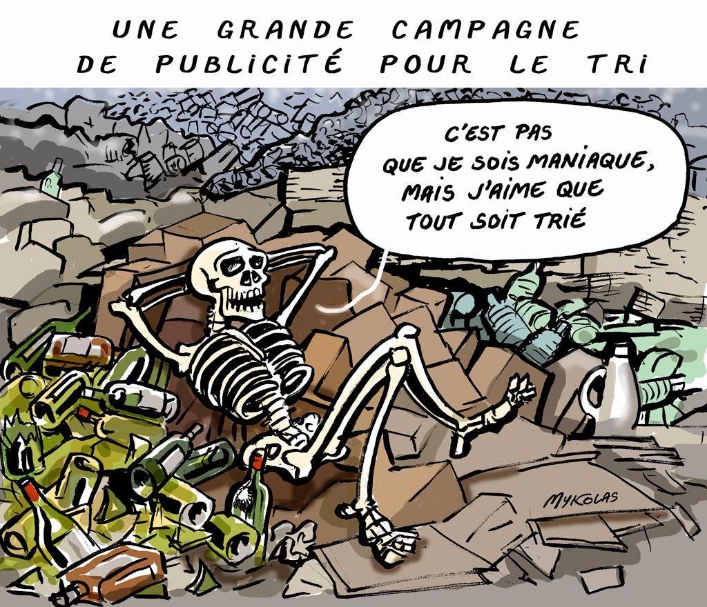 dessin d'actualité humoristique sur la campagne publicitaire en faveur du tri sélectif