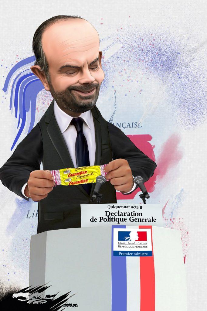 dessin d'actualité humoristique sur la déclaration de politique générale de l'acte 2 du quinquennat d'Emmanuel Macron