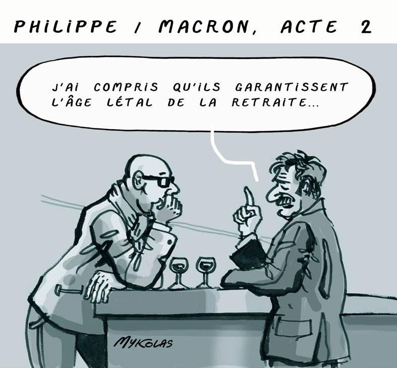 dessin d'actualité humoristique sur l'âge létal de la retraite voulu par Emmanuel Macron