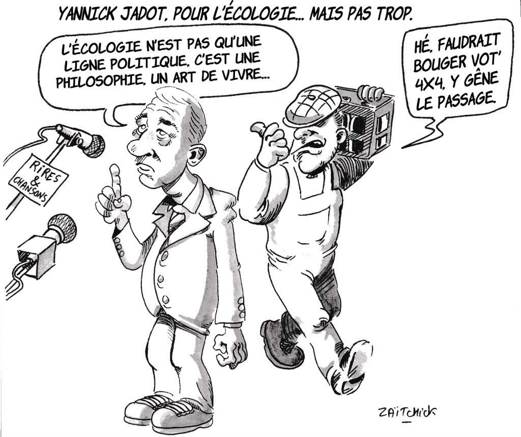dessin d'actualité humoristique sur la ligne politique de Yannick Jadot