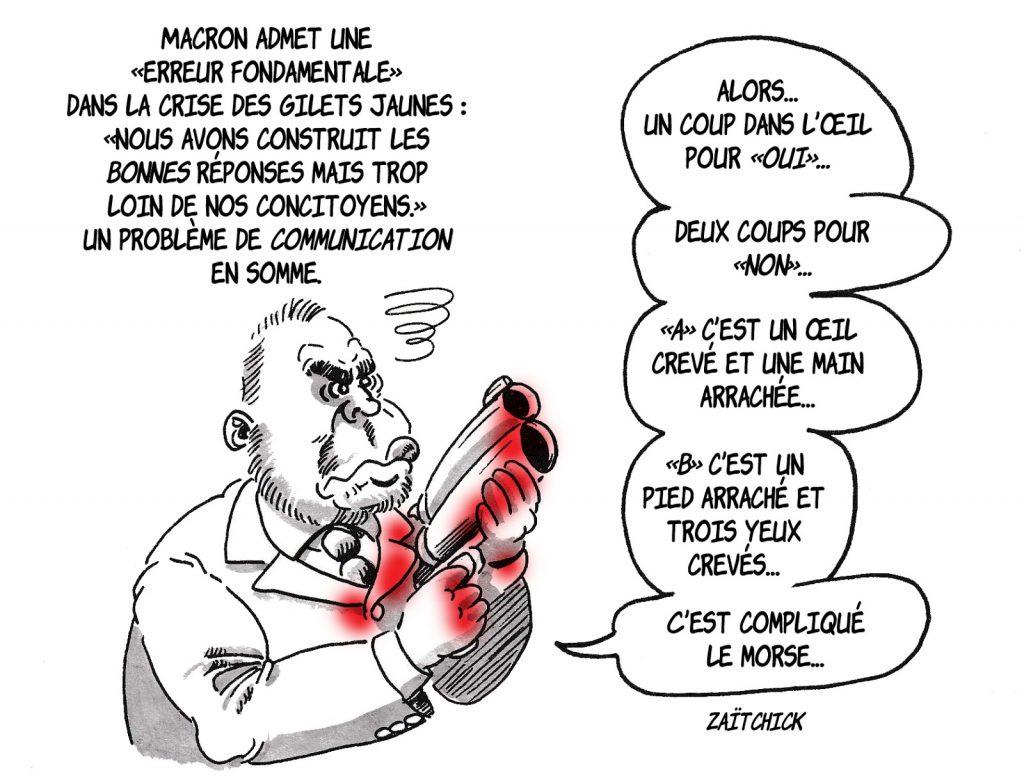 dessin d'actualité humoristique sur la reconnaissance d'Emmanuel Macron d'une erreur fondamentale dans la gestion de la crise des gilets jaunes