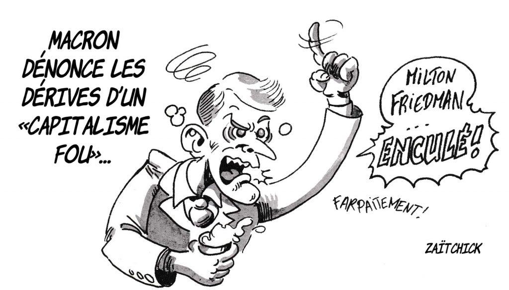 dessin d'actualité humoristique sur la dénonciation des dérives du capitalisme par Emmanuel Macron