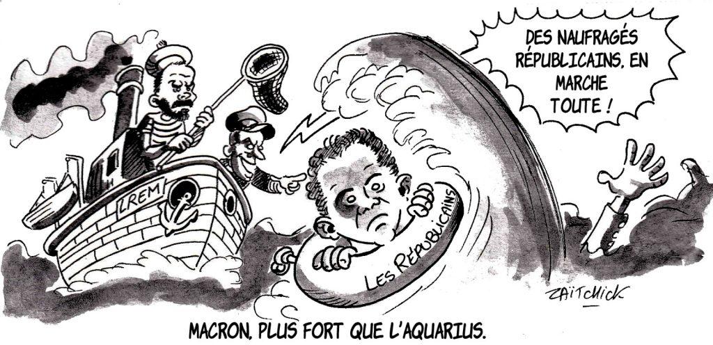 dessin d'actualité humoristique sur la récupération politique des républicains par Emmanuel Macron