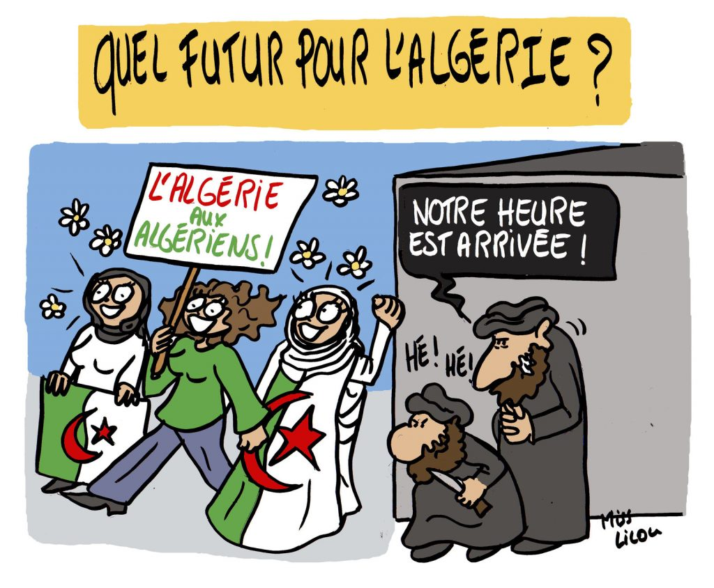 dessin de Miss Lilou sur l'avenir incertain de l'Algérie après le mouvement populaire