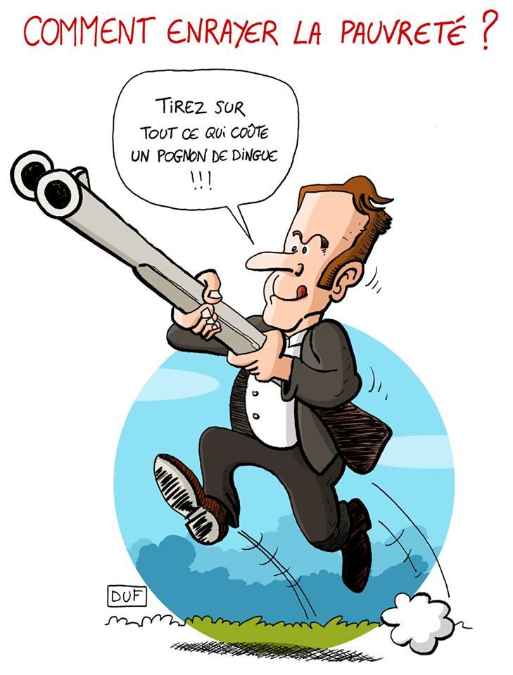 dessin d'actualité humoristique sur le plan pauvreté d'Emmanuel Macron