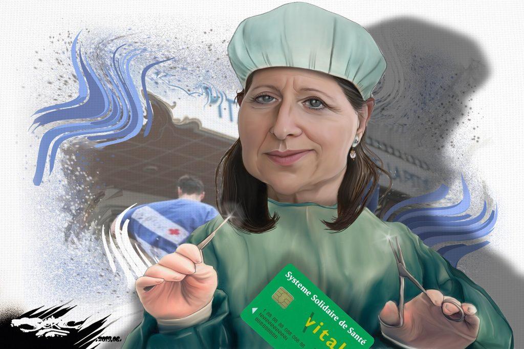 dessin d'actualité humoristique sur le démantèlement de notre système solidaire de santé