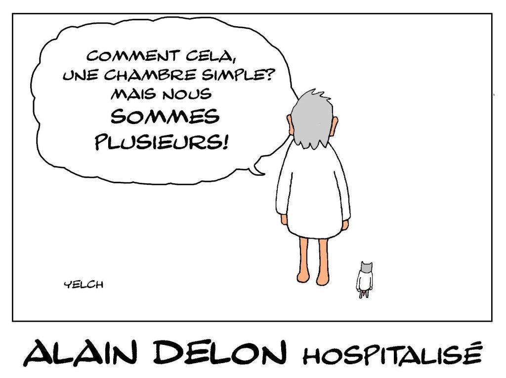 dessin de Yelch sur l'hospitalisation d'Alain Delon