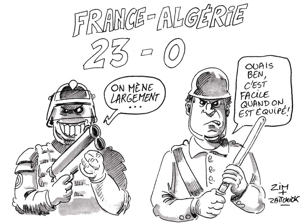 dessin d'actualité humoristique sur le score du mouvement des gilets jaunes français comparé au score du mouvement populaire algérien
