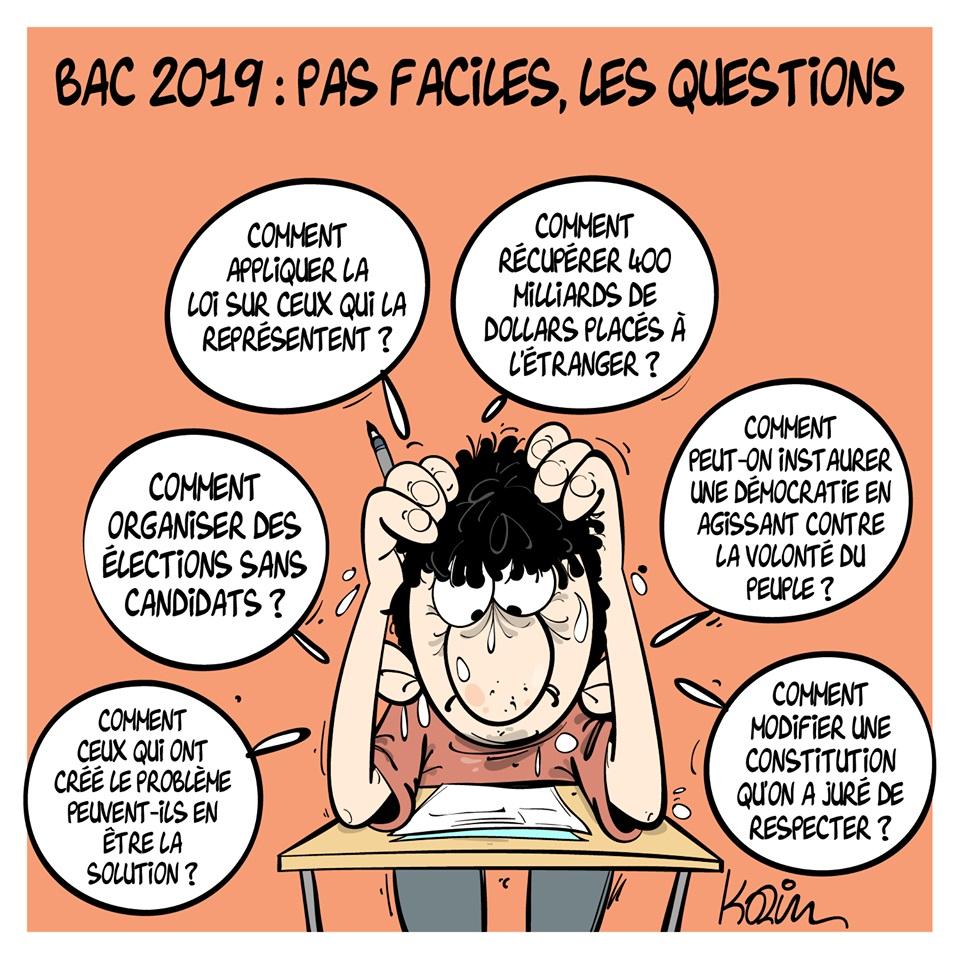 dessin d'actualité humoristique sur les difficiles questions du baccalauréat de philosophie 2019