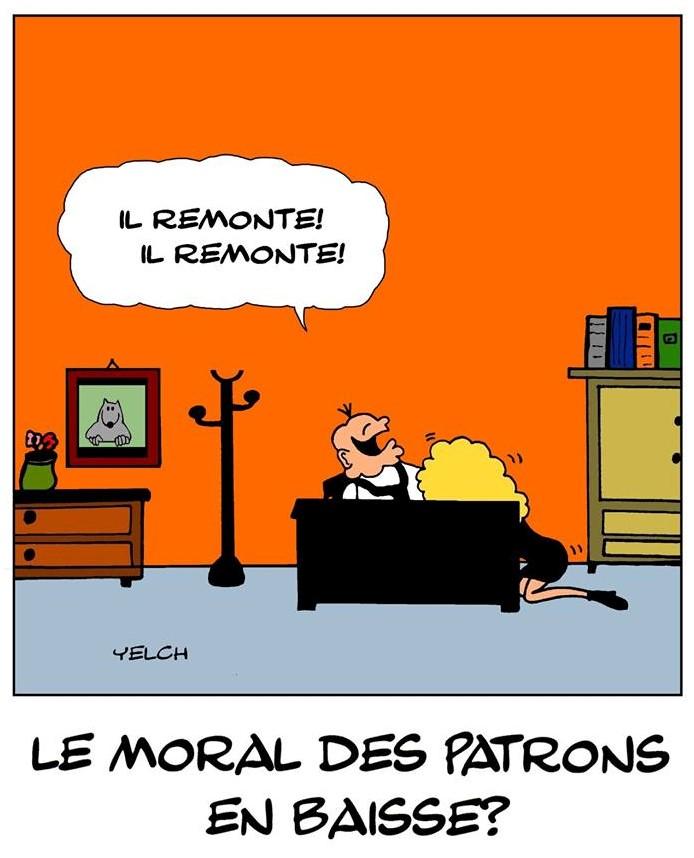 dessin de Yelch sur la baisse de moral des patrons
