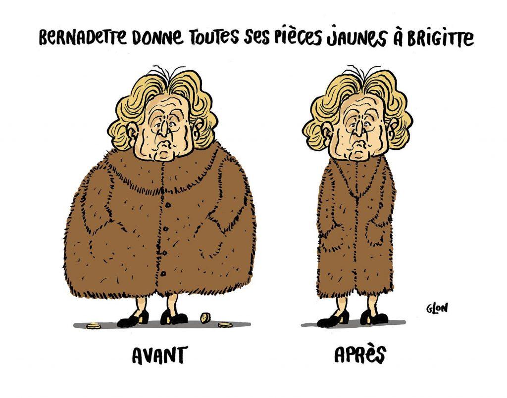 dessin d'actualité humoristique sur la démission de Bernadette Chirac de la Fondation des Hôpitaux de Paris