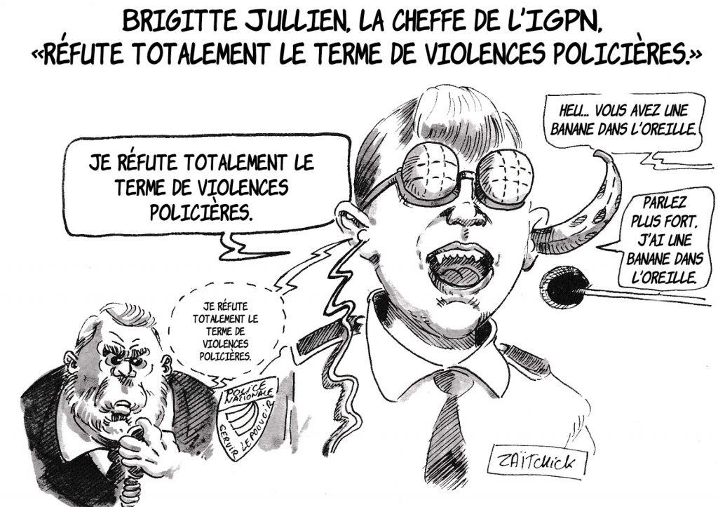 dessin d'actualité humoristique sur la réfutation du terme de violences policières par Brigitte Jullien, cheffe de l'IGPN