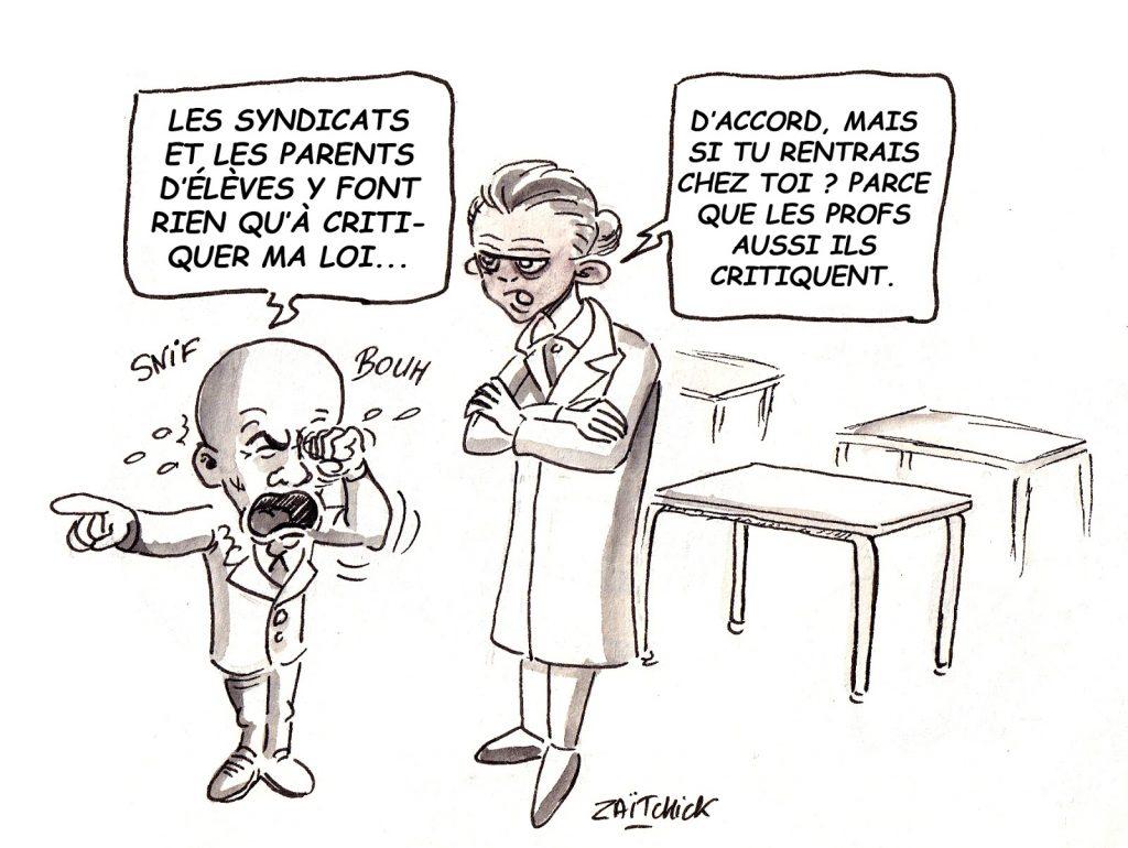 dessin d'actualité humoristique sur Jean-Michel Blanquer et les critiques sur la loi Blanquer