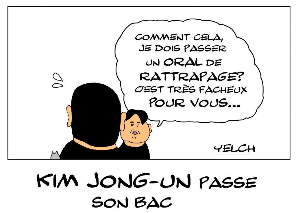 dessin de Yelch sur Kim Jong-un passant son baccalauréat