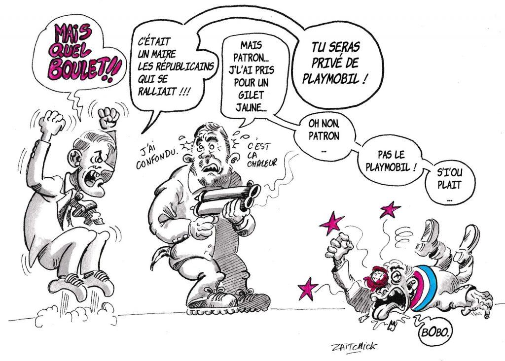dessin d'actualité humoristique sur le Playmobil de Christophe Castaner, le ralliement des maires Les Républicains et les violences policières