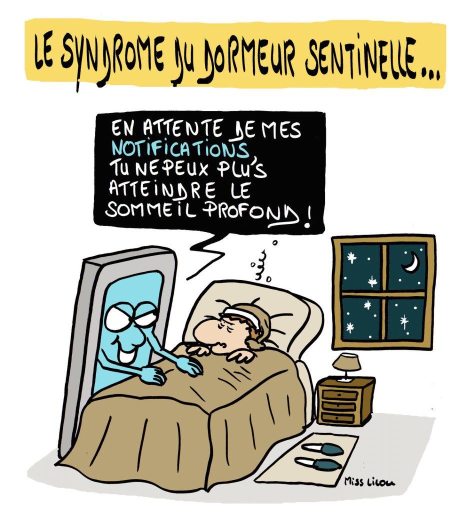 dessin de Miss Lilou sur le syndrome du dormeur sentinelle