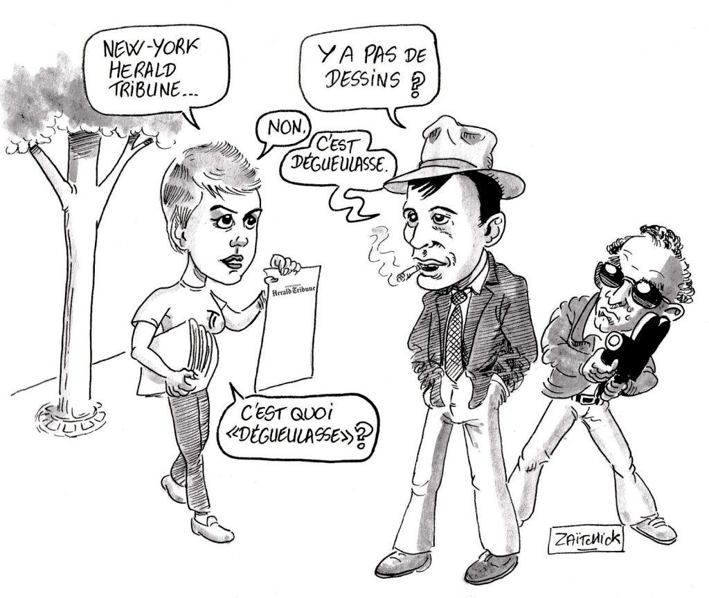 dessin d'actualité humoristique sur la suppression des dessins politiques dans le New York Times