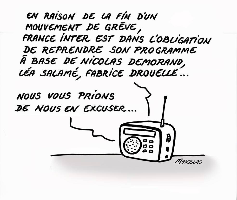 dessin d'actualité humoristique sur la reprise des programmes de France Inter