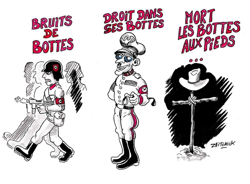 dessin humoristique sur les gens droits dans leurs bottes