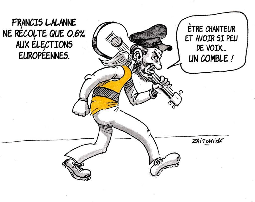 dessin humoristique sur les résultats de Francis Lalanne aux élections européennes