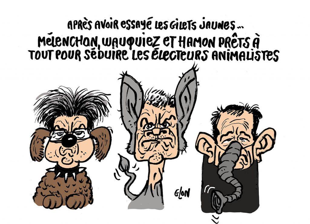 dessin d'actualité humoristique sur les élections européennes et les tentatives de séduction des électeurs animalistes
