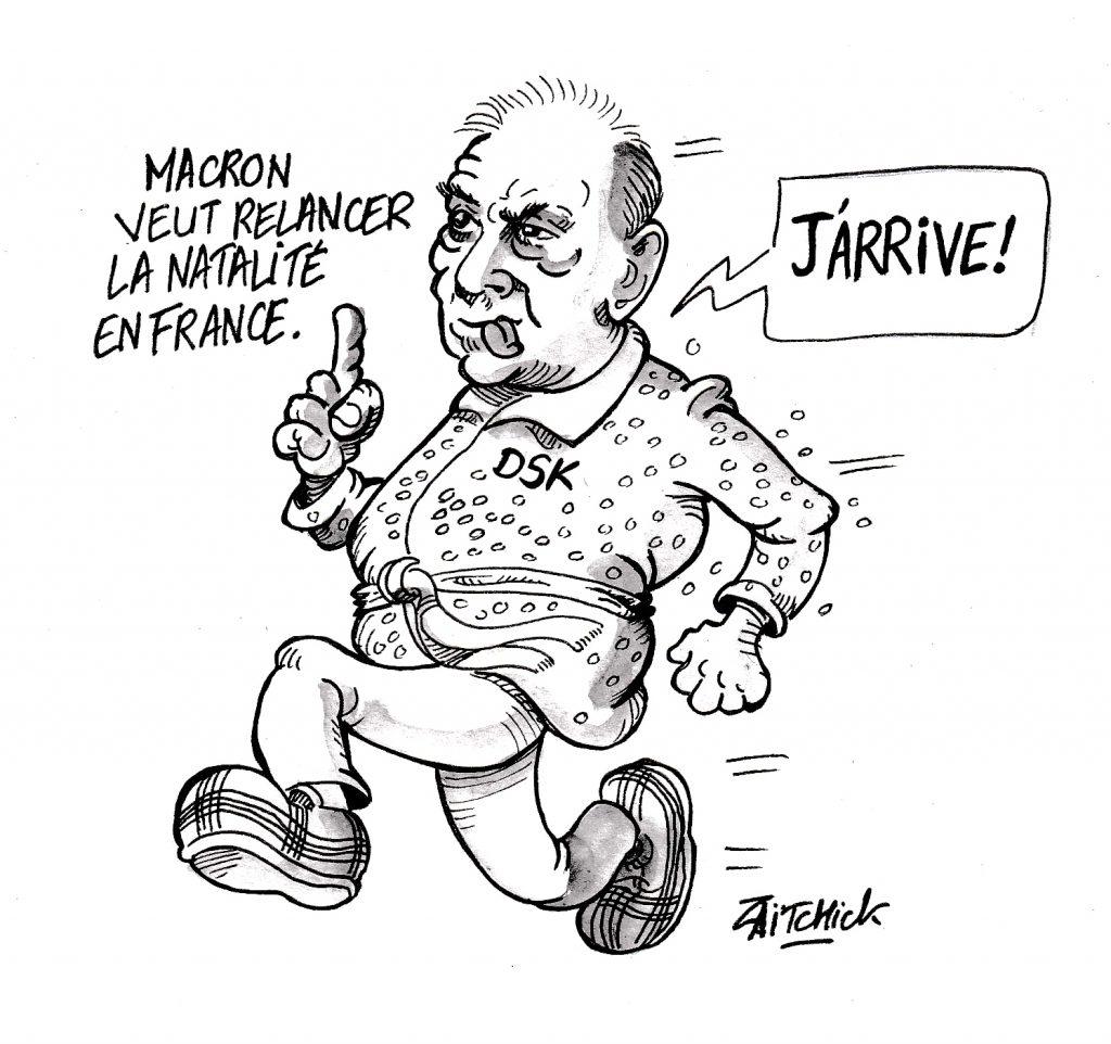 dessin humoristique sur la volonté d'Emmanuel Macron de relancer la natalité en France