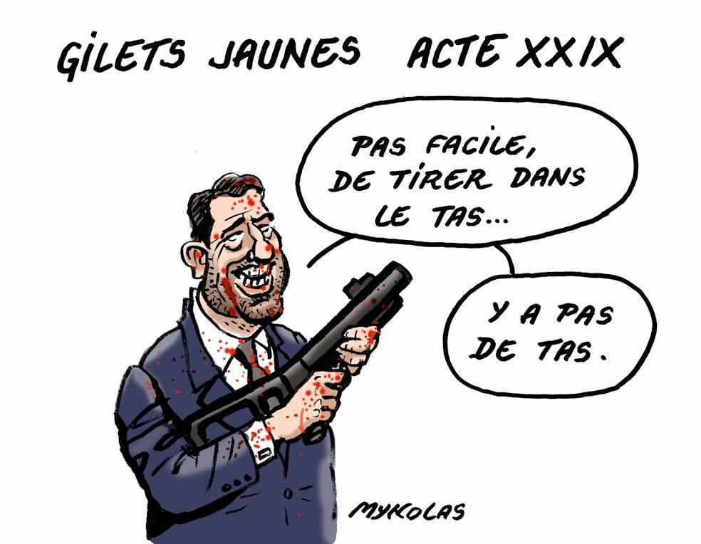 dessin d'actualité humoristique sur Christophe Castaner et l'acte 29 du mouvement des Gilets Jaunes