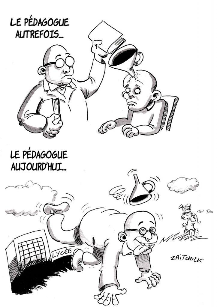 dessin humoristique sur l'évolution des pédagogues