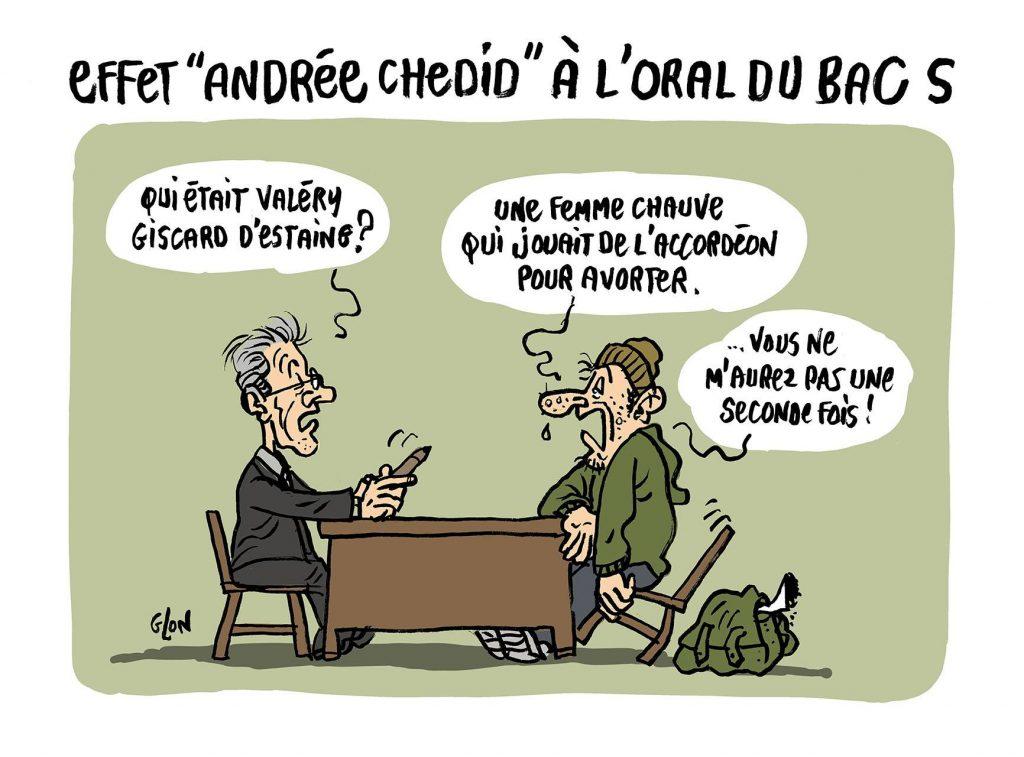 dessin d'actualité humoristique sur le sujet du baccalauréat S concernant Andrée Chedid