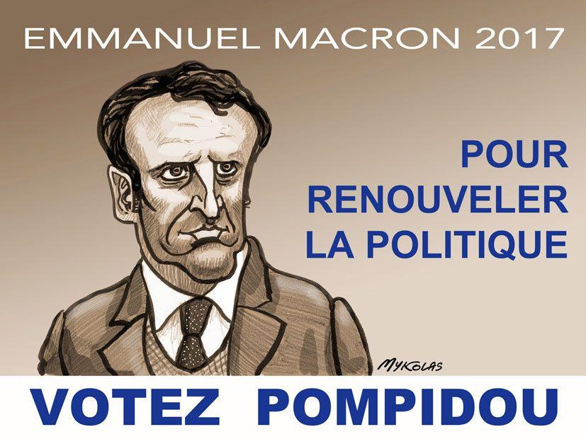 dessin d'actualité humoristique sur l'hommage d'Emmanuel Macron à Georges Pompidou