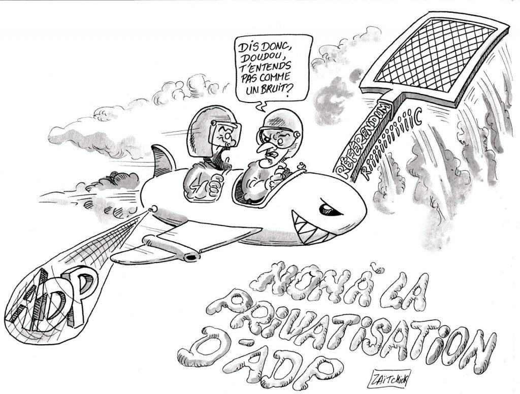 dessin d'actualité humoristique sur le référendum contre la privatisation des Aéroports de Paris