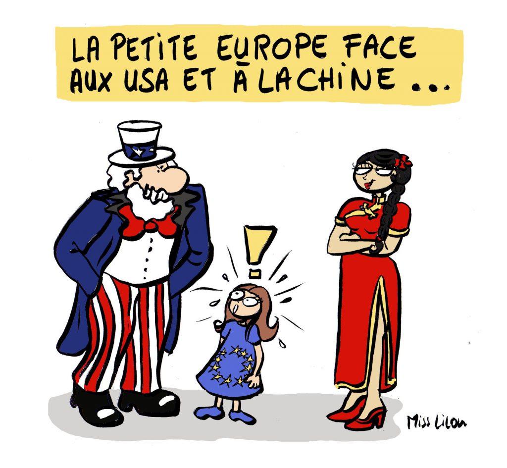 dessin de Miss Lilou sur l'Europe face à la Chine et aux États-Unis