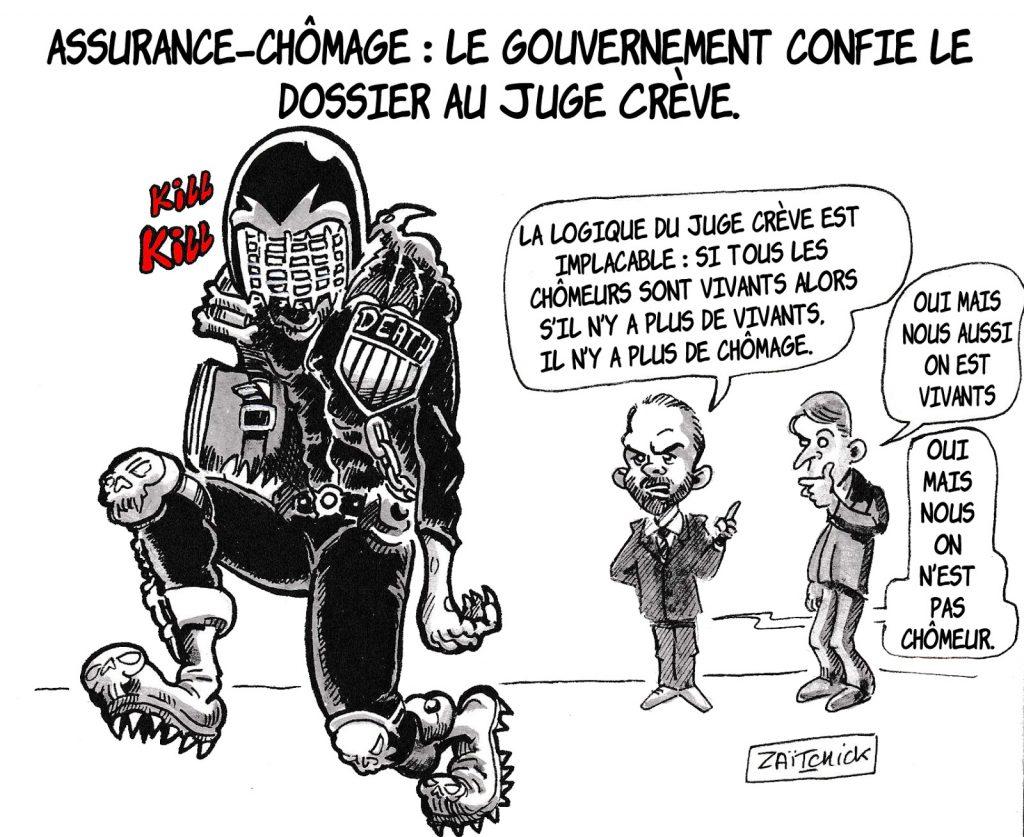 dessin d'actualité humoristique sur la lutte contre le chômage menée par Édouard Philippe et Emmanuel Macron