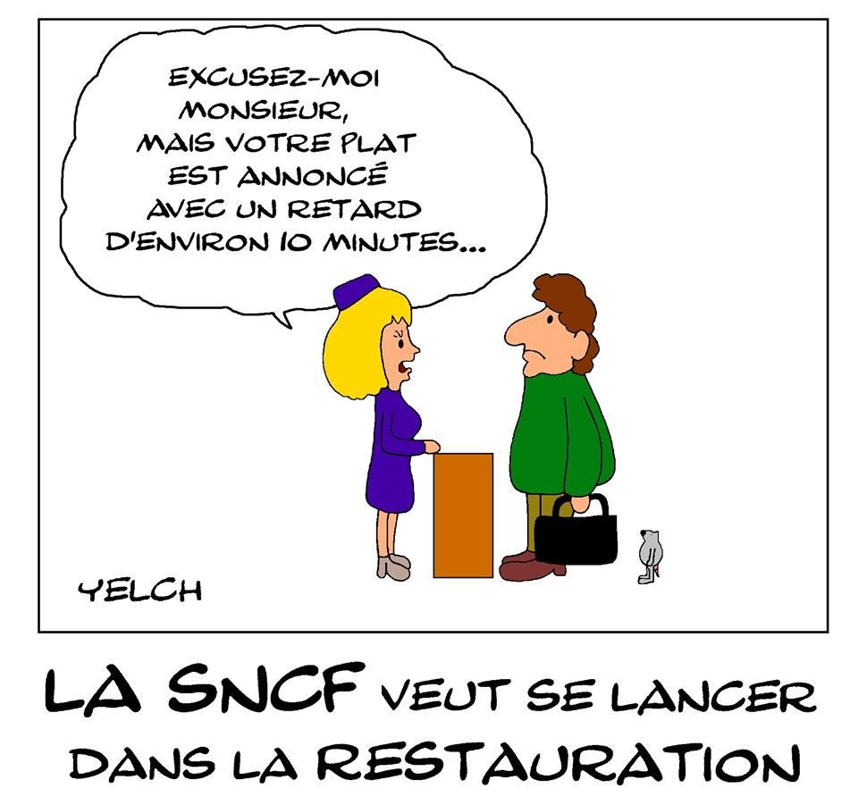 dessin de Yelch sur la SNCF qui envisage de se lancer dans la restauration