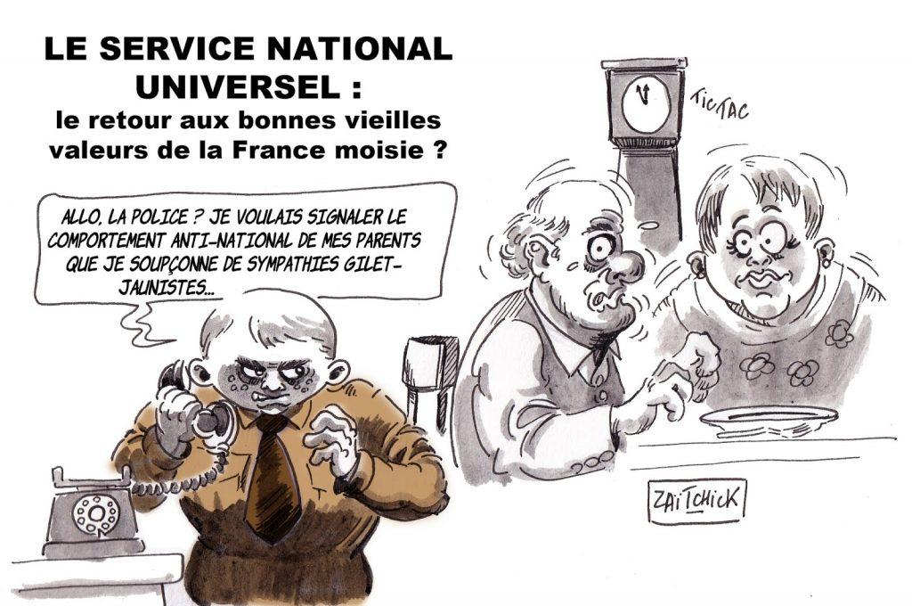 dessin d'actualité humoristique sur la mise en place du Service National Universel