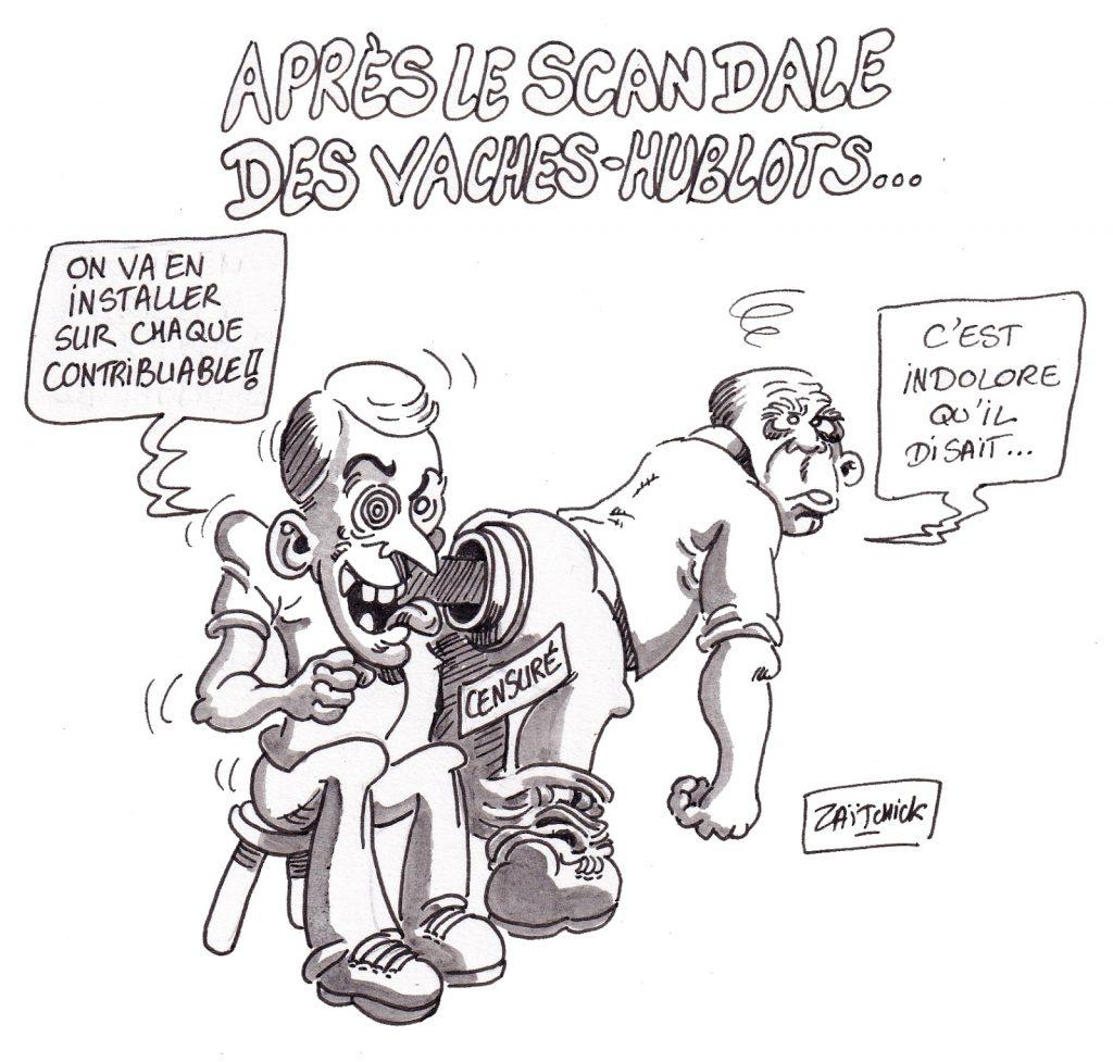 dessin d'actualité humoristique sur le scandale des vaches à hublots et le matraquage fiscal d'Emmanuel Macron