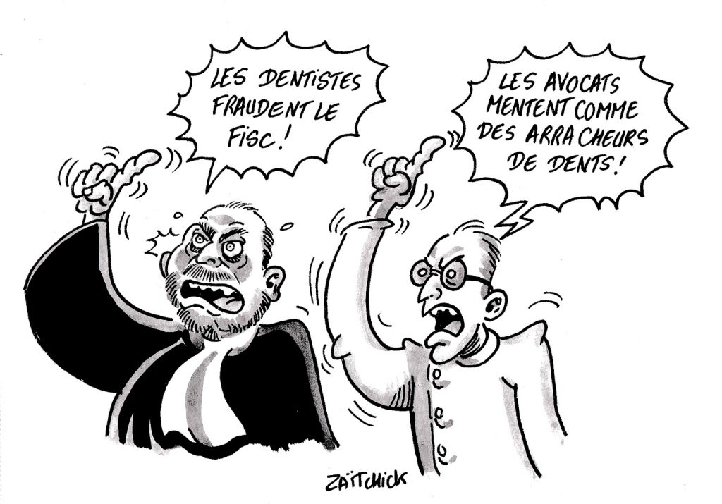 dessin humoristique sur Éric Dupond-Moretti qui parle de la fraude fiscale