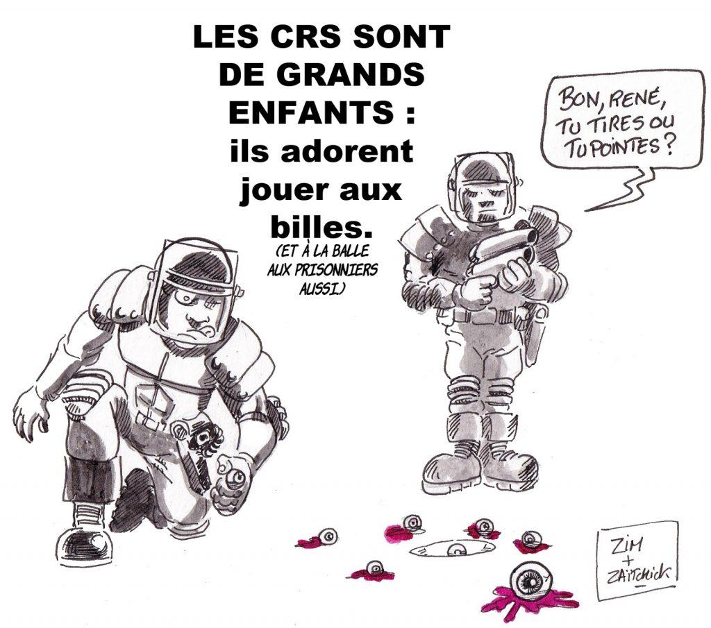 dessin d'actualité humoristique sur les violences policières lors du mouvement des gilets jaunes