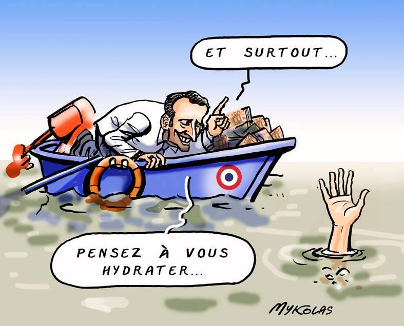 dessin d'actualité humoristique sur Emmanuel Macron et la canicule