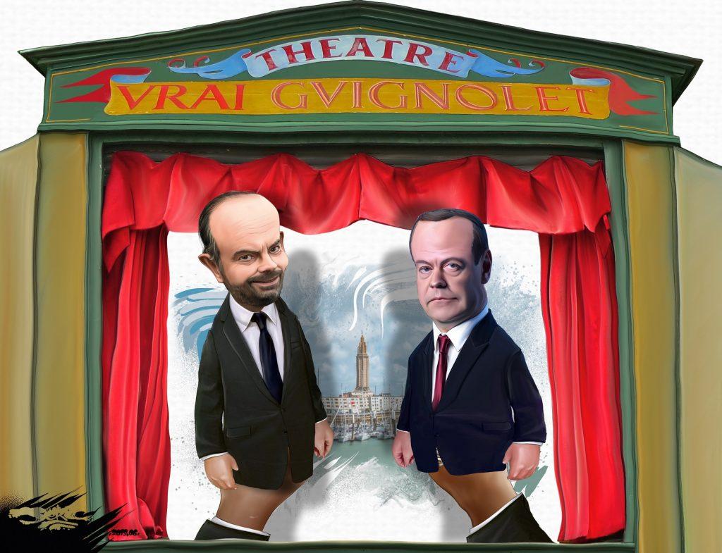 dessin d'actualité humoristique sur la visite de Dmitri Medvedev