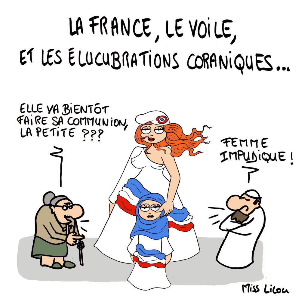 dessin de Miss Lilou sur la France et la polémique sur le voile